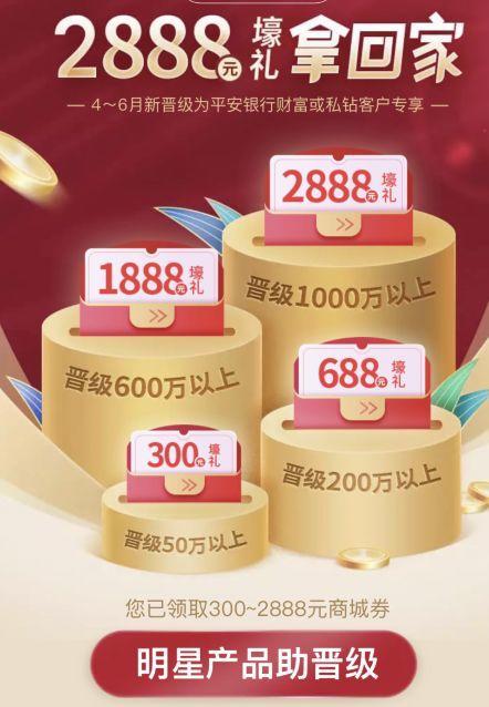平安银行:50万,30天,返现280+300+300,年化6%+,当地柜台开户